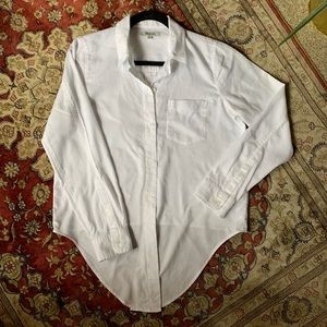 Madewell Tie-Front White Button Down Shirt